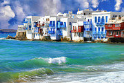 Dominic Piperata Metal Prints - Waterfront at Mykonos Metal Print by Dominic Piperata