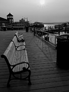 Monotone Prints - Waterfront Benches II Print by Steven Ainsworth