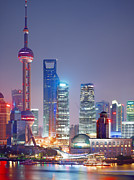 East China Prints - Waterfront Night View Of Pudong, China Print by Eightfish