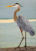 Great Blue Heron Paintings - Waterfront Property by Lorraine Ulen