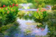 Canna Lilies Framed Prints - Watergarden In Monet Style Framed Print by Crystal Garner