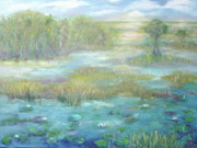 Park Scene Paintings - Waterglades Park 2 of Palm Beaches by Barbara Anna Knauf