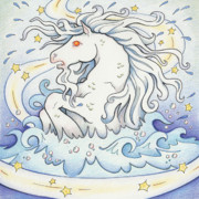 Full Moon Drawings Prints - Waterhorse Emerges Print by Amy S Turner