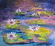 Waterlilies Mixed Media Posters - Waterlilies Poster by Almeta LENNON