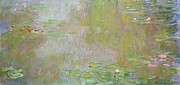 Reflection On Pond Prints - Waterlilies at Giverny Print by Claude Monet