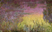 Claude Paintings - Waterlilies at Sunset by Claude Monet