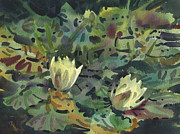 Waterlilies Tapestries Textiles Posters - Waterlilies Poster by Donald Maier