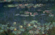 Lilies Posters - Waterlilies Green Reflections Poster by Claude Monet