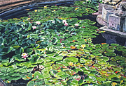 Blooming Paintings - Waterlilies Huntington Fountain by David Lloyd Glover