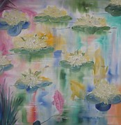 Mediate Prints - Waterlilies Print by Monika Dickson