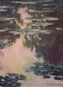 Lake Paintings - Waterlilies with Weeping Willows by Claude Monet