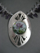 Pond Jewelry - Waterlily and Dragonflies Necklace by Brenda Berdnik