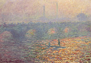 Bay Bridge Painting Metal Prints - Waterloo Bridge Metal Print by Claude Monet