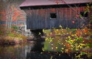 """autumn Foliage New England"" Prints - Waterloo Covered Bridge-1  Print by Thomas Schoeller"