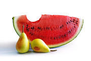 Red Pear Posters - Watermelon and Pears Poster by Carlos Caetano