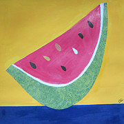Watermelon Mixed Media Posters - Watermelon Poster by Christine Quimby