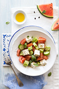 Salad Posters - Watermelon Feta Salad Poster by Ingwervanille