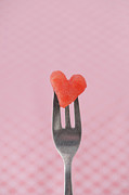 Watermelon Metal Prints - Watermelon Heart Metal Print by Elin Enger