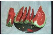 Food And Beverage Pyrography Originals - Watermelon by Igor Fedonyuk