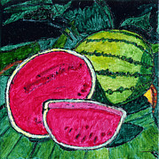 Moonshine Painting Framed Prints - Watermelon Moonshine Framed Print by Phil Strang