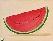 Watermelon Seeds Framed Prints - Watermelon Framed Print by Nadine Makos