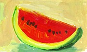 Beige Painting Framed Prints - Watermelon Framed Print by Patricia Awapara