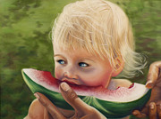 Hands Pastels Prints - Watermelon Print by Sharon Allen