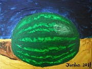 Jordan Art Paintings - Watermelon Still Life by Jeannie Atwater Jordan Allen