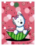 Watermelon Westie Girl Print by Kim Niles
