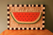 Home Decor Reliefs - Watermelon with Black Checkerboard by James Neill