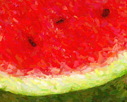 Fruit. Watermelon Prints - Watermelon With Three Seeds Print by Wingsdomain Art and Photography