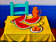 Table Cloth Paintings - Watermelons by Roberto Aguilar