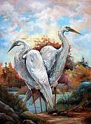 Stork Paintings - Waters Edge by Cynara Shelton