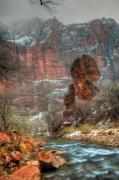Virgin River Prints - Waters Rushing at the Temple of Sinawava Print by Irene Abdou