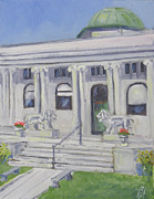 Library Painting Originals - Watertown NY-Flower Memorial Library by Robert P Hedden