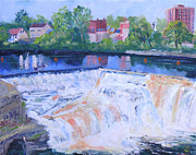 White Water Rafting Paintings - Watertown Ny Mill St Falls by Robert P Hedden