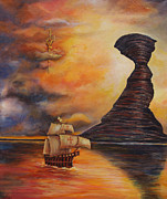 Old Sailing Ship Paintings - Waterworld II by Shelly Leitheiser