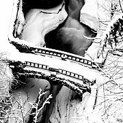 Watkins Glen Gorge Bridge In Winter Print by Roger Soule