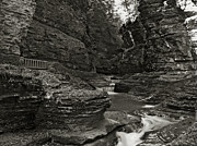 Watkins Glen State Park Prints - Watkins Glen in Black and White Print by Joshua House