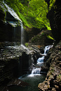Finger Lakes Digital Art Posters - Watkins Glen - Rainbow Falls Poster by Cassandra Lemon