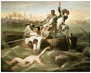 John Singleton Copley Paintings - Watson and the Shark by John Singleton Copley