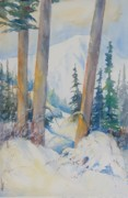 North Cascades Painting Posters - Watson Anderson Lakes Road Snow Patterns Poster by Sukey Jacobsen