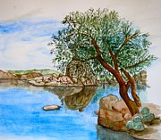 Prescott Paintings - Watson Lake Prescott Arizona Peaceful Waters by Sharon Mick