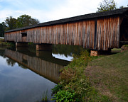 Whiteoak50 Framed Prints - Watson Mill Covered Bridge-Reflection Framed Print by Eva Thomas