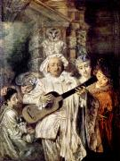 Lute Photo Framed Prints - Watteau: Gilles & Family Framed Print by Granger