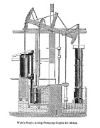 Diagram Art - Watts Steam Engine, 1769 by Granger