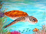 Ocean Turtle Paintings - Watzup Dude by Barbi  Holzmann