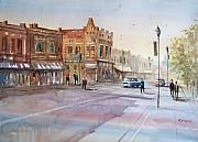 Watercolor Figure Painting Prints - Waupaca - Main Street Print by Ryan Radke
