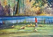 Watercolor Figure Painting Prints - Wautoma Mill Pond Print by Ryan Radke