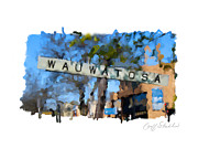 Depot Digital Art Prints - Wauwatosa Railroad Sign Print by Geoff Strehlow